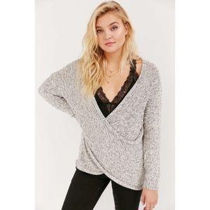 Kimchi Blue Sunny Surplice Sweater Gray